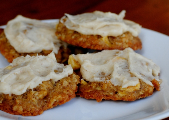 apple oatmeal cookies with browned butter frosting