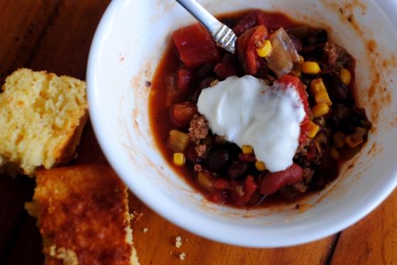 taco soup and cornbread